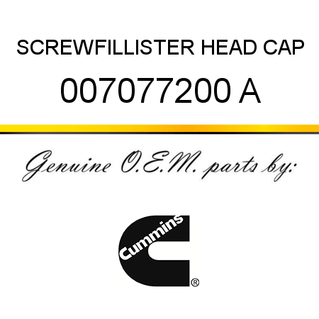 SCREW,FILLISTER HEAD CAP 007077200 A