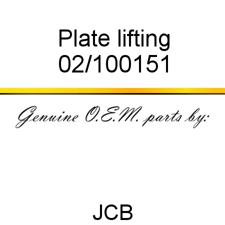 Plate, lifting 02/100151