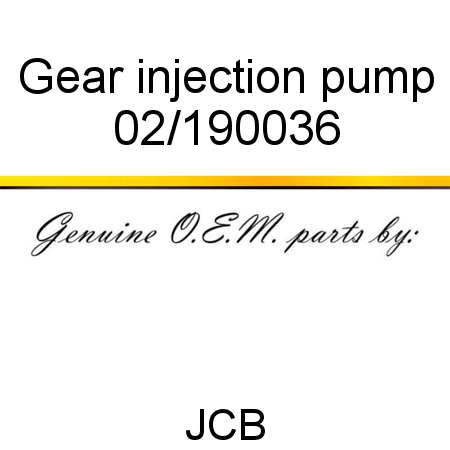Gear, injection pump 02/190036