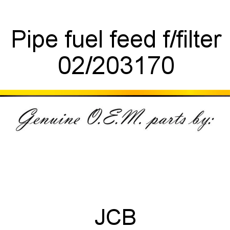 Pipe, fuel feed f/filter 02/203170