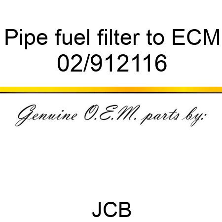 Pipe, fuel filter to ECM 02/912116