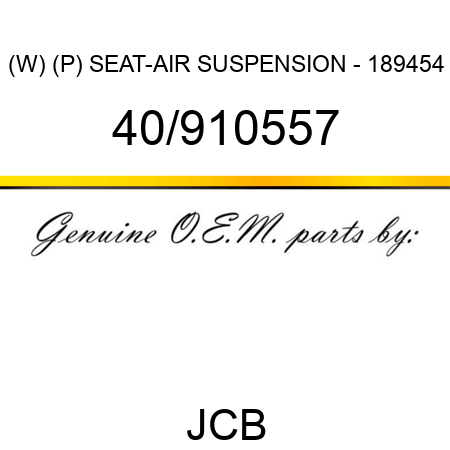 (W) (P) SEAT-AIR SUSPENSION - 189454 40/910557