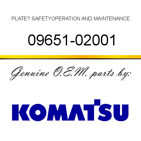 PLATE? SAFETY,OPERATION AND MAINTENANCE 09651-02001