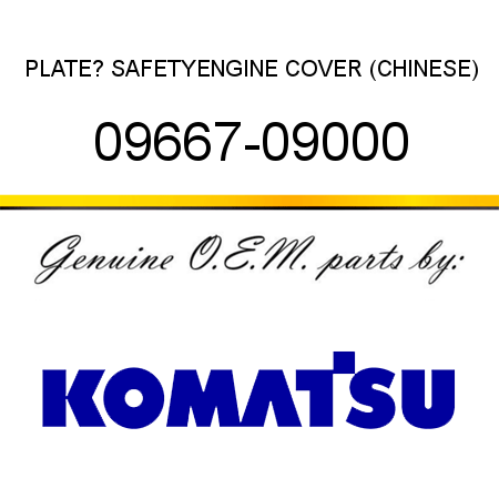 PLATE? SAFETY,ENGINE COVER (CHINESE) 09667-09000