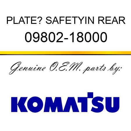 PLATE? SAFETY,IN REAR 09802-18000