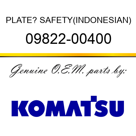 PLATE? SAFETY,(INDONESIAN) 09822-00400