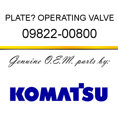PLATE? OPERATING, VALVE 09822-00800