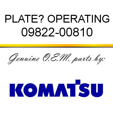 PLATE? OPERATING 09822-00810