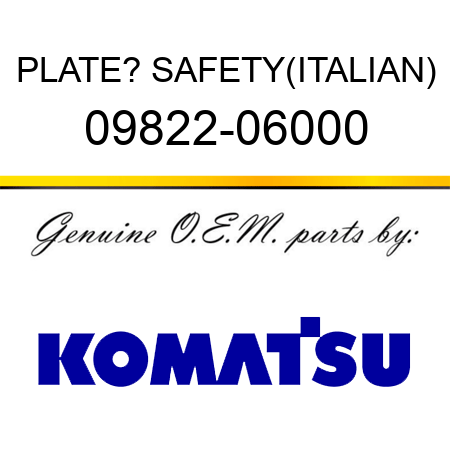 PLATE? SAFETY,(ITALIAN) 09822-06000